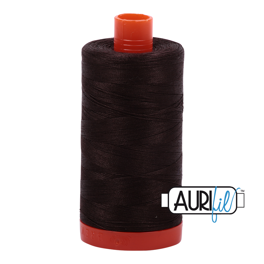 Aurifil Mako Cotton Thread Solid 50wt 220yds Very Dark Bark
