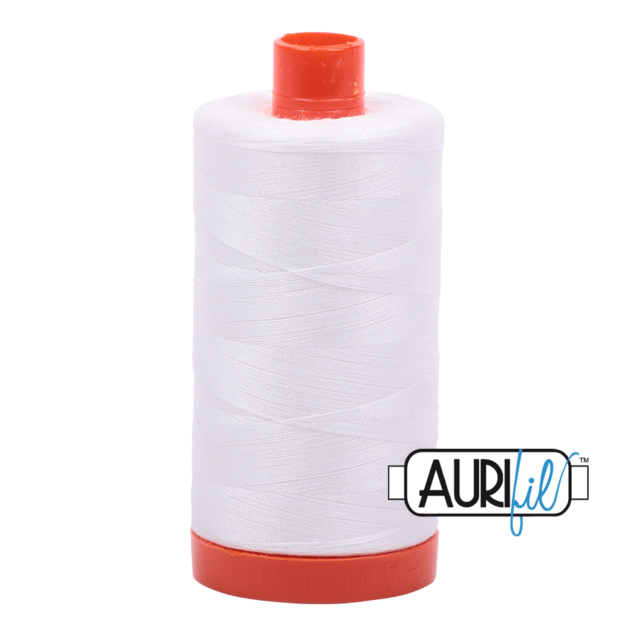 Aurifil Mako Cotton Thread Solid 50wt 1422yds Natural White