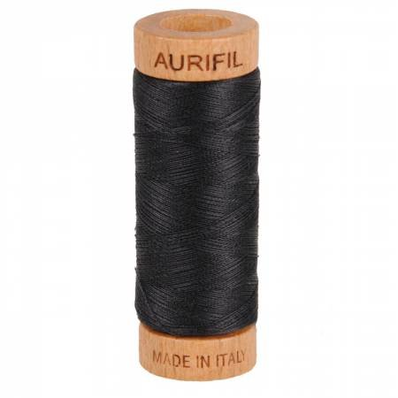 Aurifil Mako Cotton Thread Solid 50wt 220yds Very Dark Grey