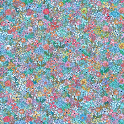 Happy Place Knit Pretty floral with auqu background