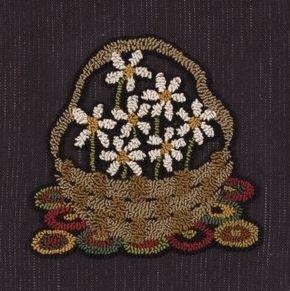 Basket of Daisies - punchneedle