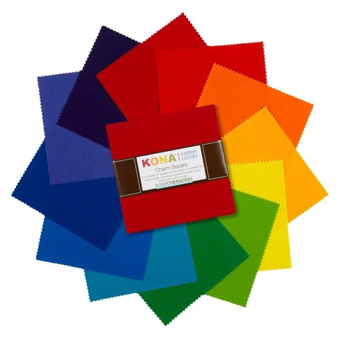 Kona Cotton Bright Rainbow Charm Square