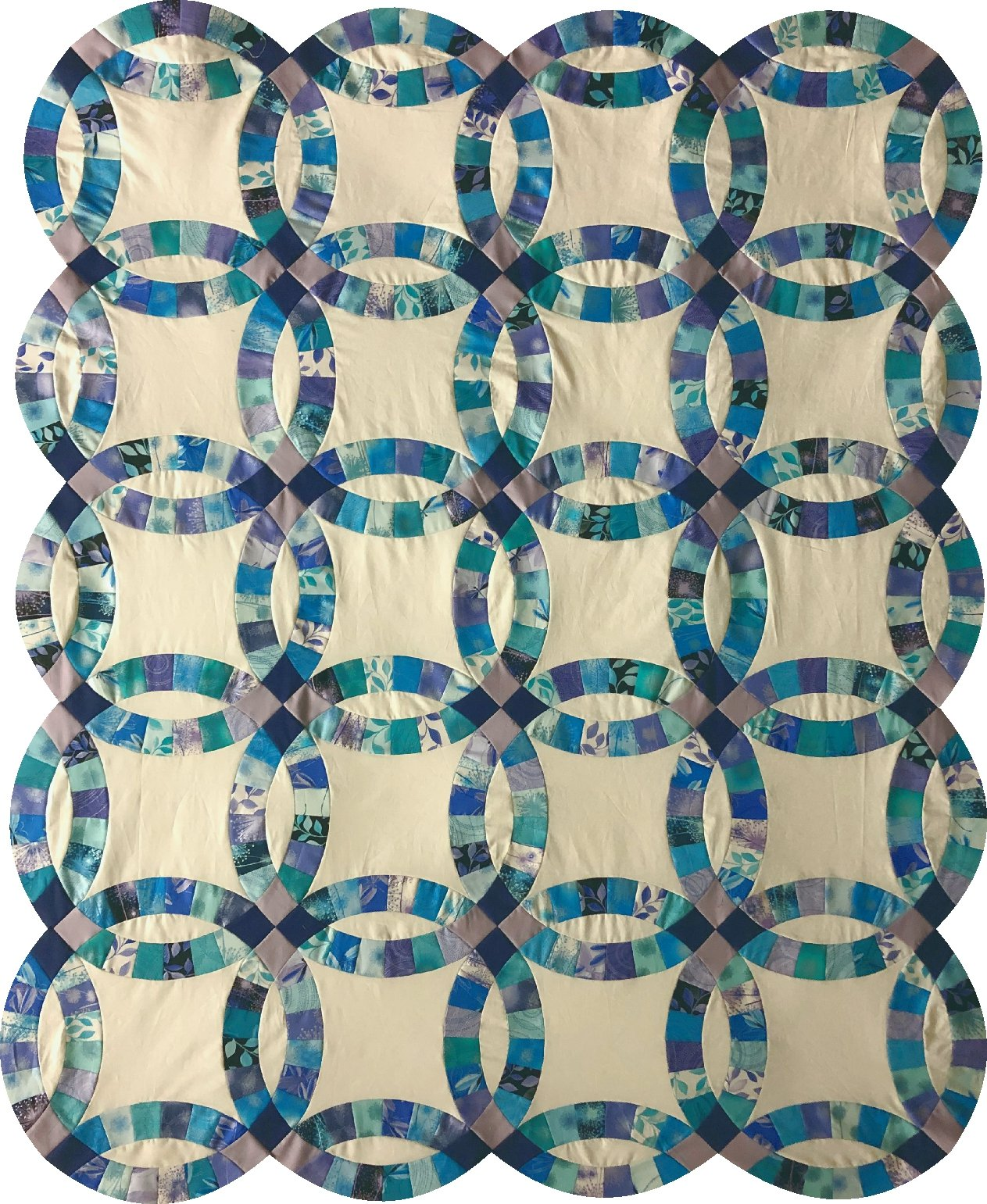 Double Wedding Ring blue purple and teal Pre cut kit