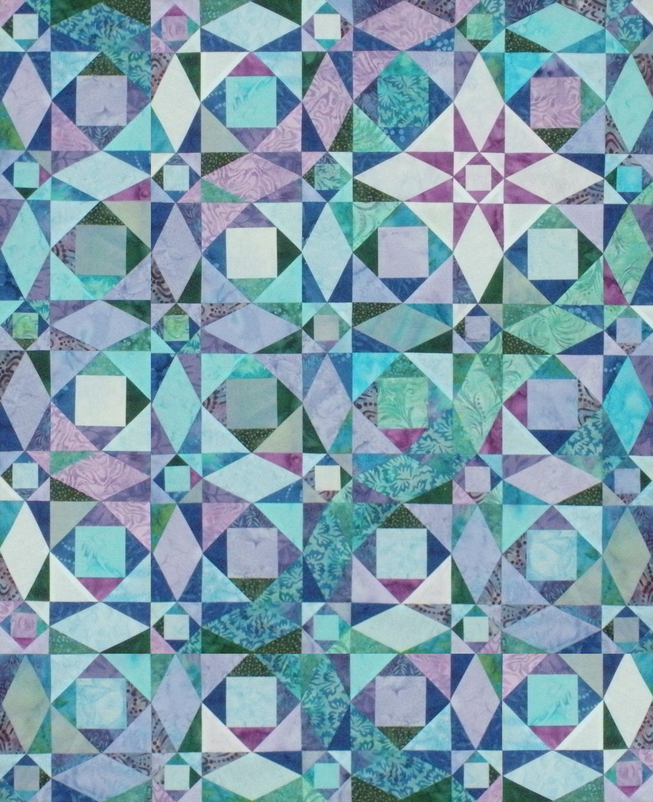 Storm at Sea 16 Bed Size Pre-Cut Kit Blue, Teal, & Purple