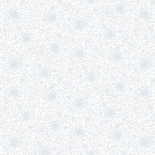 1885-01W White - White on White Outline Roses - Quilter's Flour