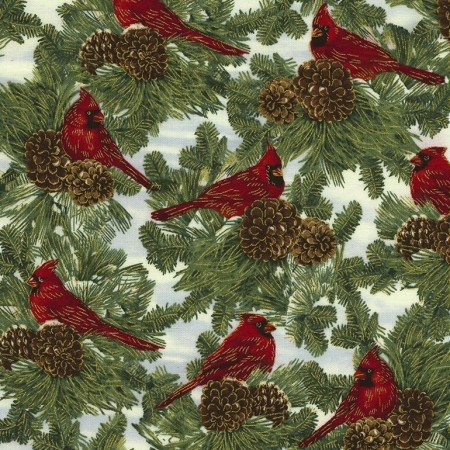 CM4989 Holiday  Ivory Cardinals on Pine