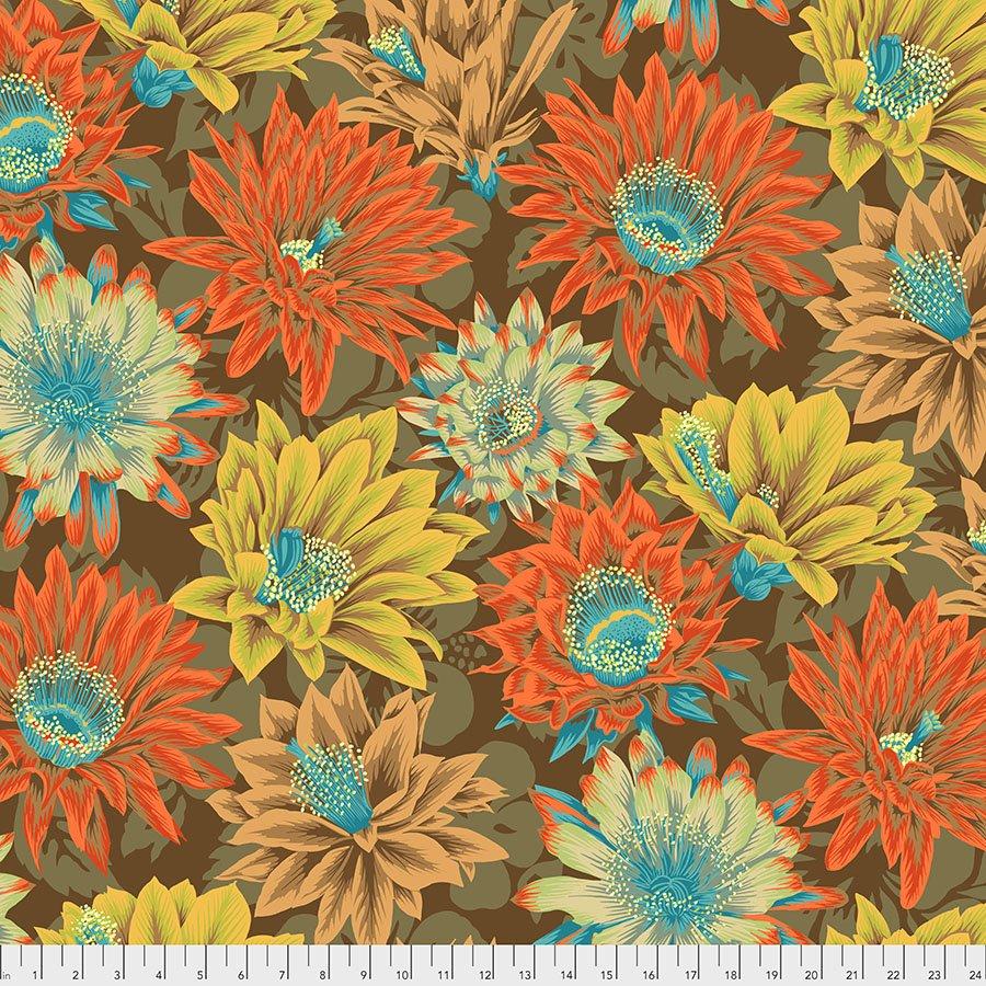 PWPJ096.BROWN Cactus Flower - Brown - Kaffe Fassett Collective Spring 2021