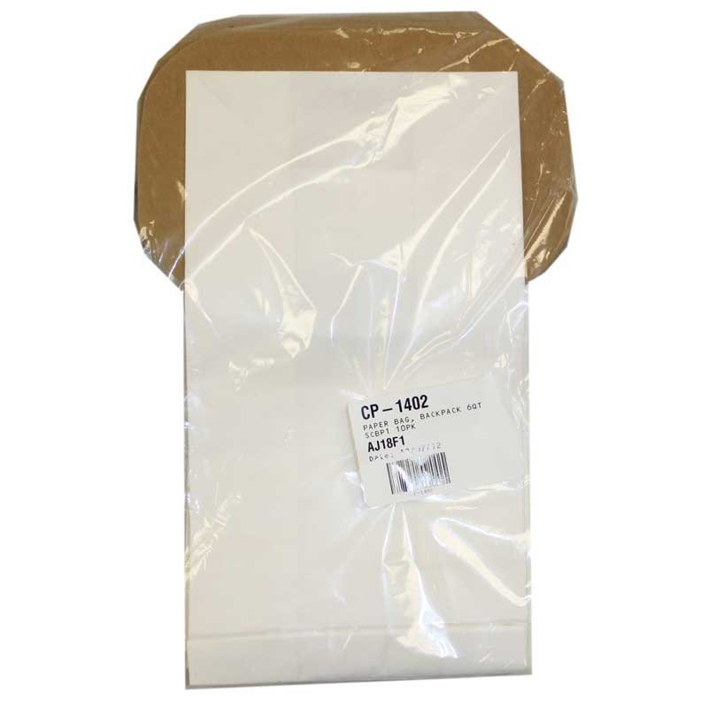 Carpet Pro 6qt Backpack Bags 10pk - Part No. C352-2500