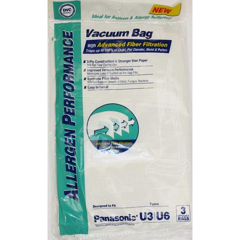 Panasonic U U-3 U-6 Paper Bags 3pk - Part No. 464716