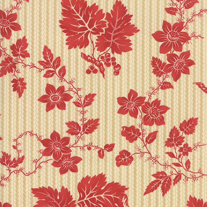 Crazy for Red Etched Floral Ivory Red