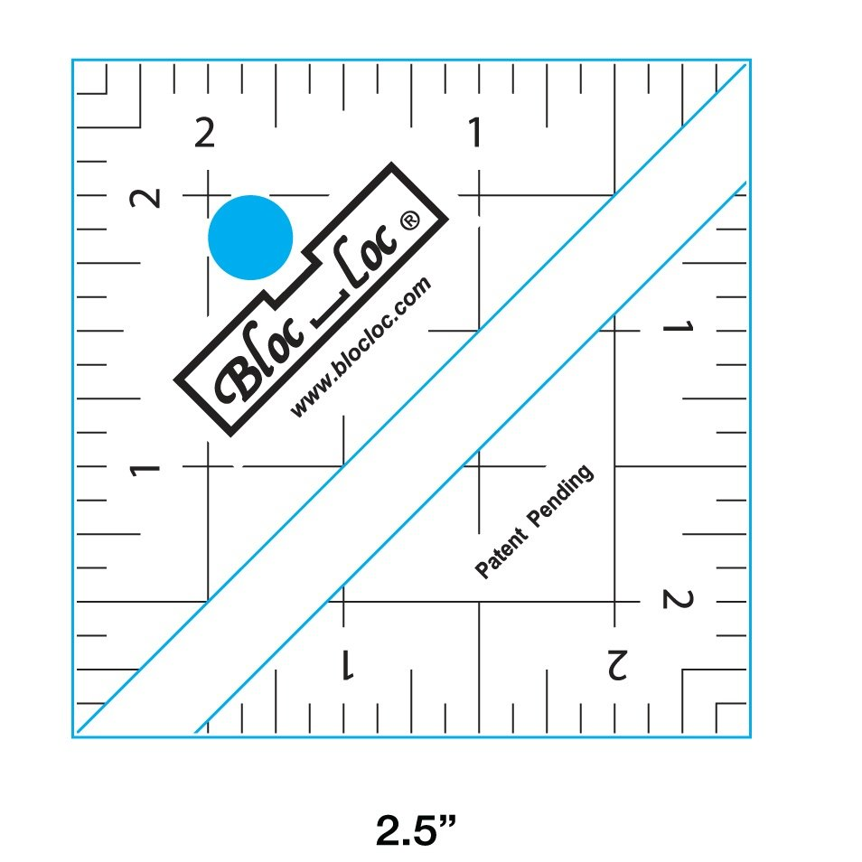 2.5 Bloc Loc Half Square Triangle square up ruler