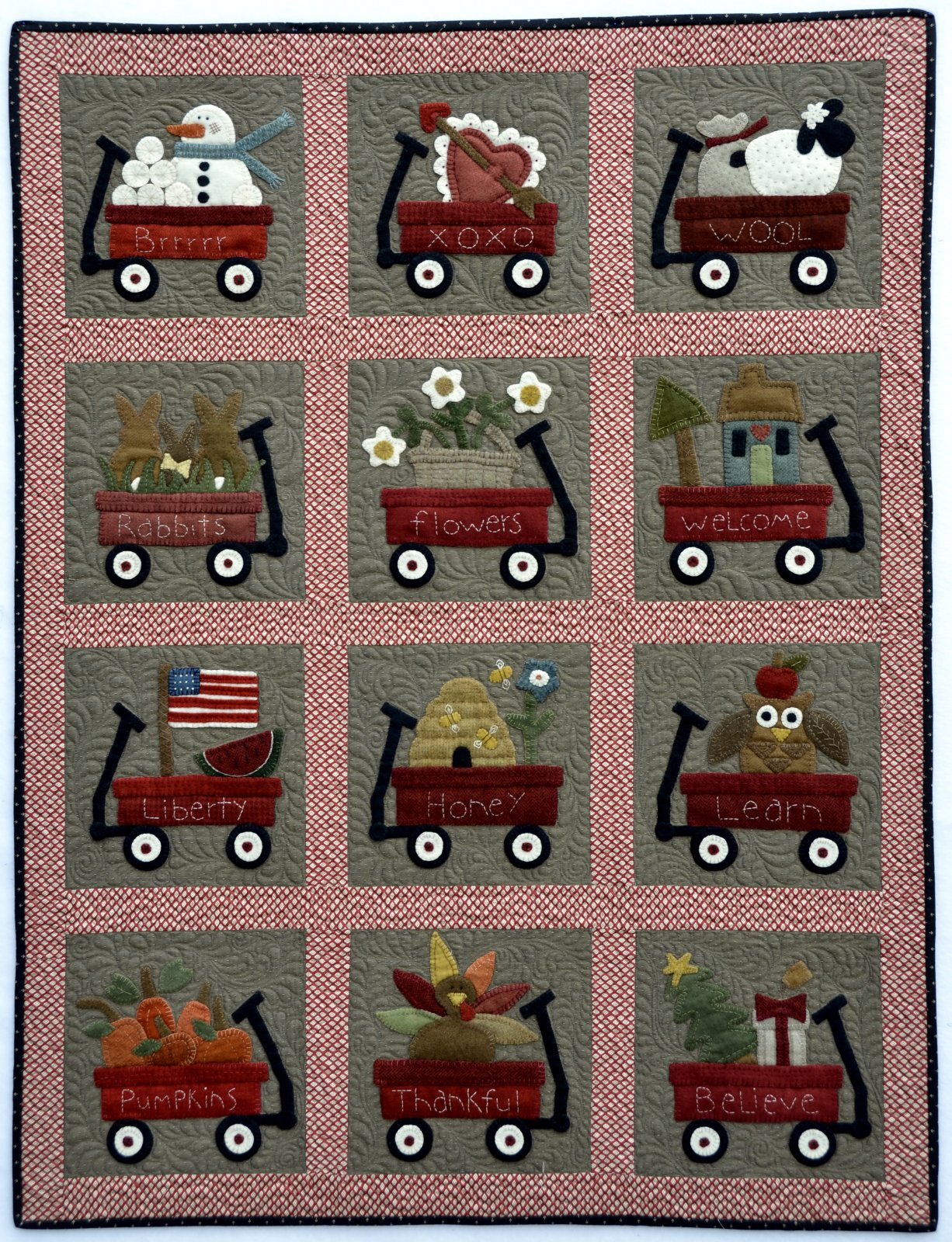 My Wooly Red Wagon Block of the Month - Sold Out