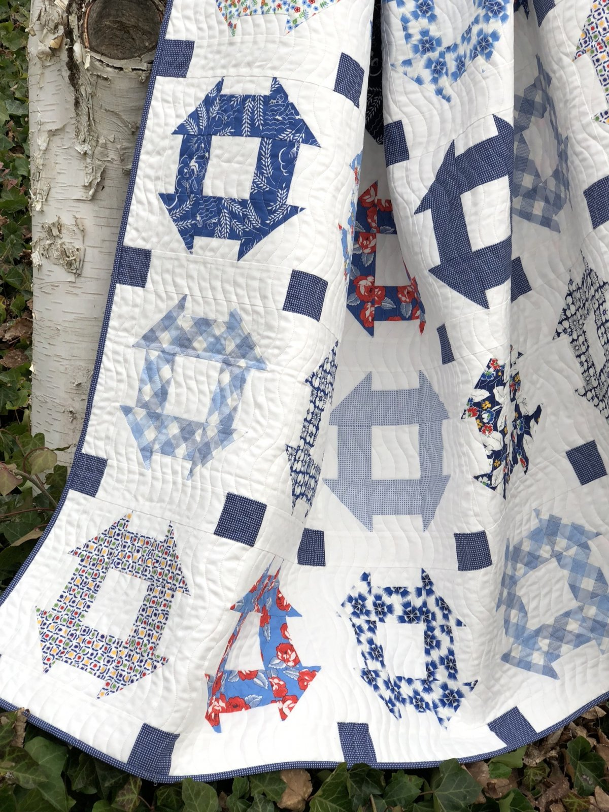 True Blue Churn Dash Quilt Kit