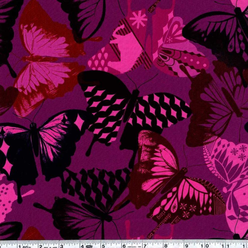 Flutter - Butterflies Rayon - Fuschia