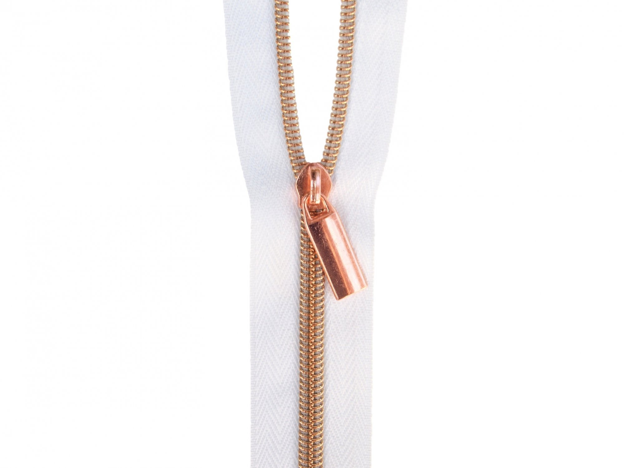 Zipper Tape - White Tape & Copper Zipper