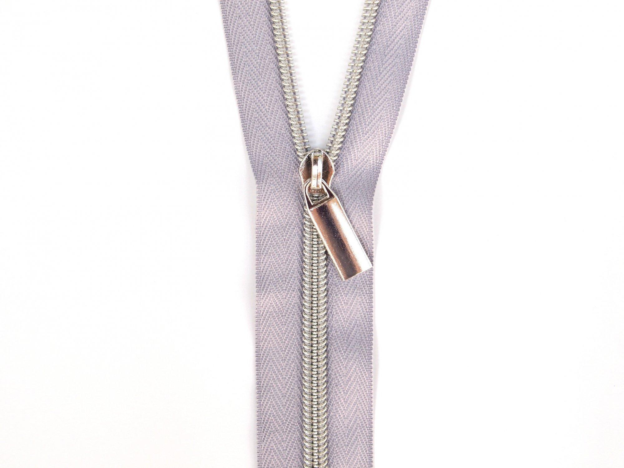 Zipper Tape - Grey Tape & Silver Zipper