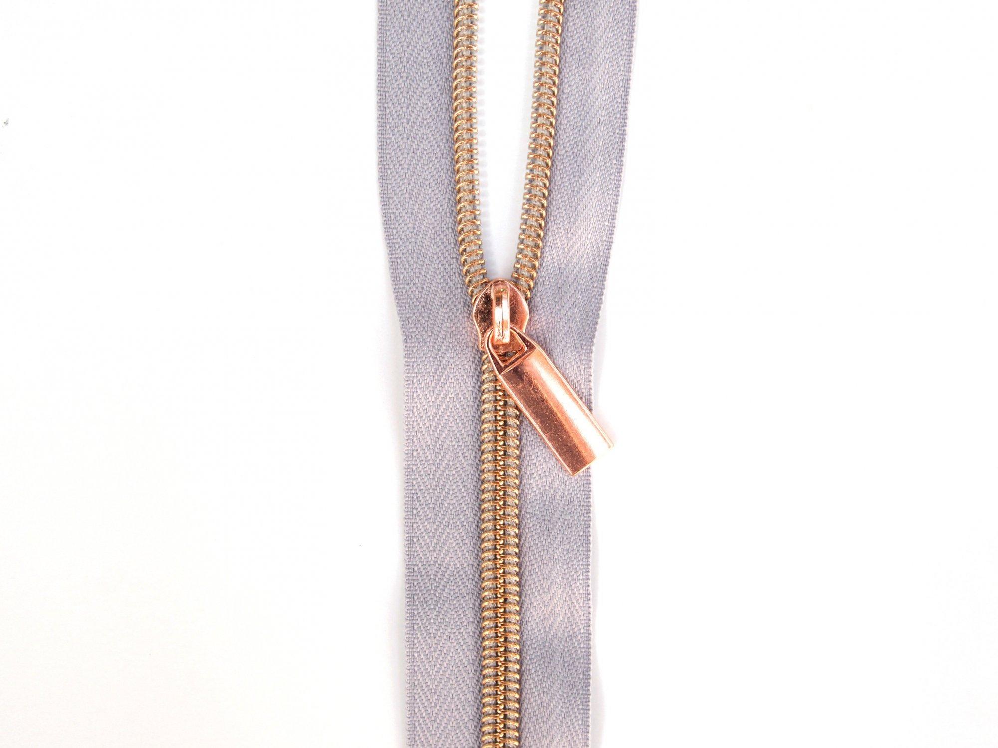 Zipper Tape - Grey Tape & Copper Zipper