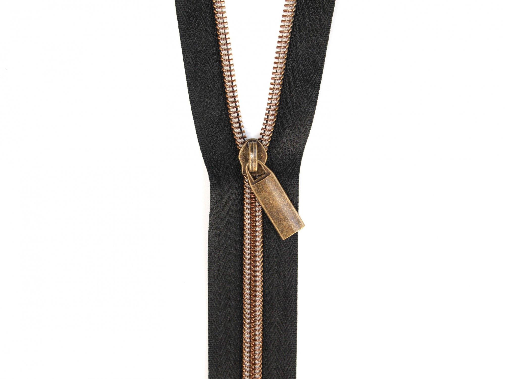 Zipper Tape - Black Tape & Antique Zipper