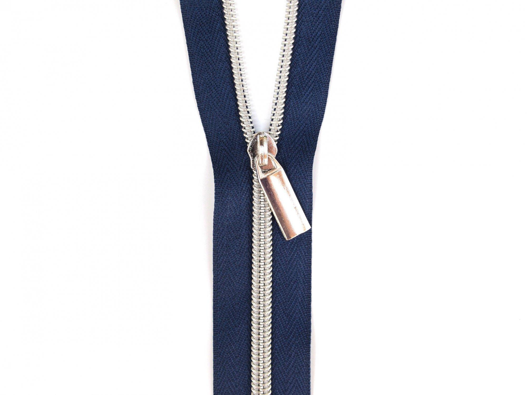 Zipper Tape - Navy Tape & Silver Zipper