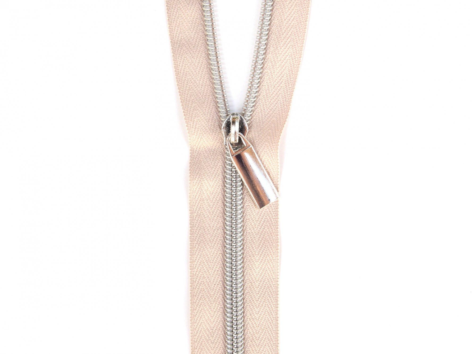 Zipper Tape - Beige Tape & Silver Zipper