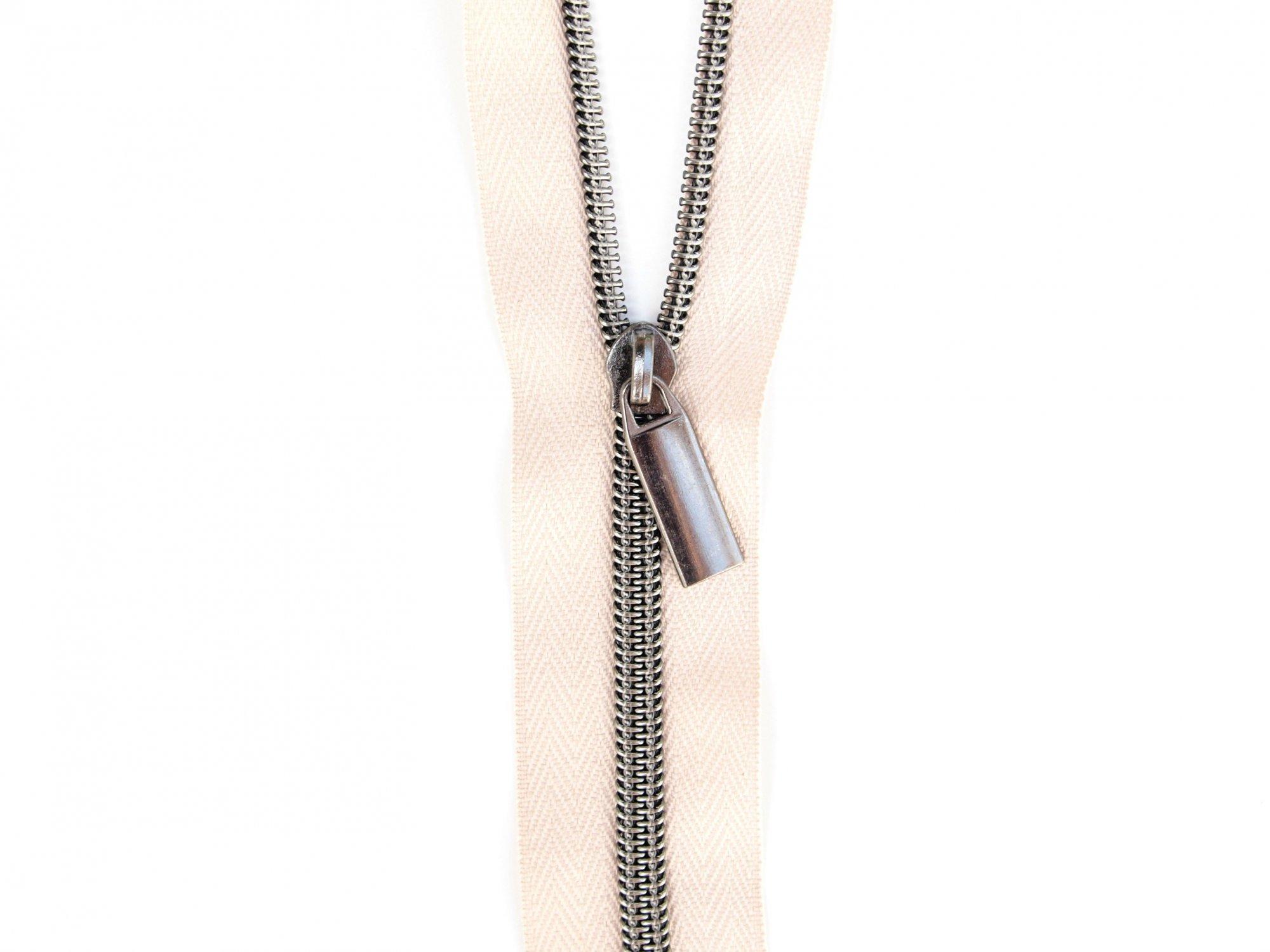 Zipper Tape - Beige Tape & Gunmetal Zipper