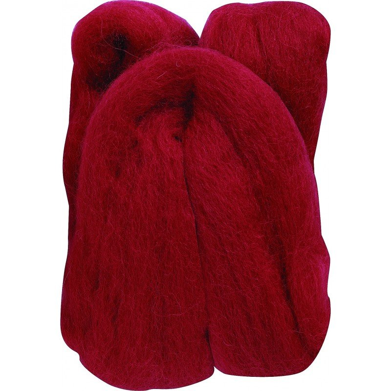 Clover Wool Roving - Red