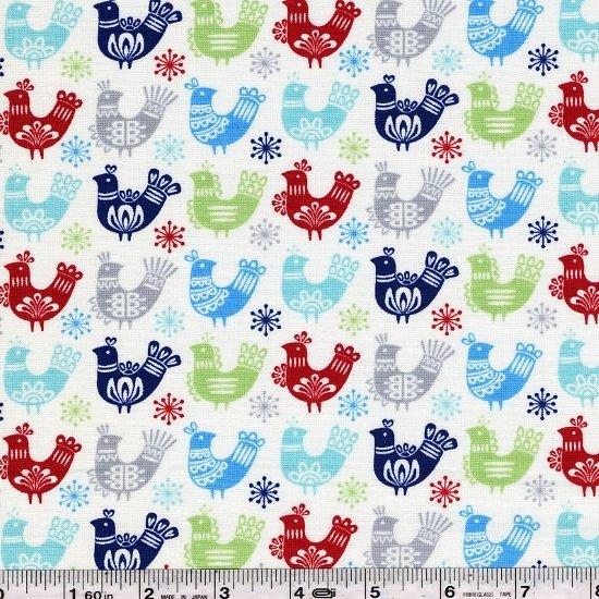 Folk Art Holiday - Doves - Multi