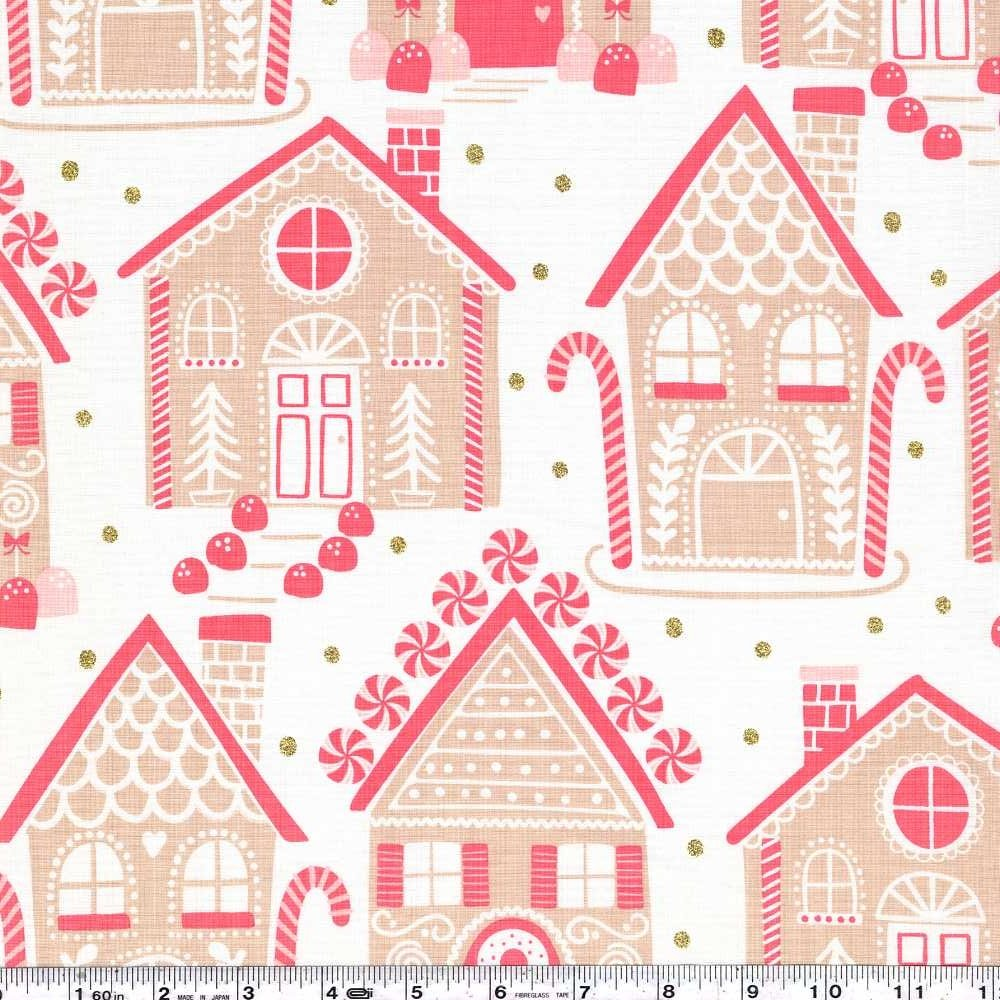 Kringle's Sweet Shop - Gingerbread Lane - Ivory & Gold Glitter