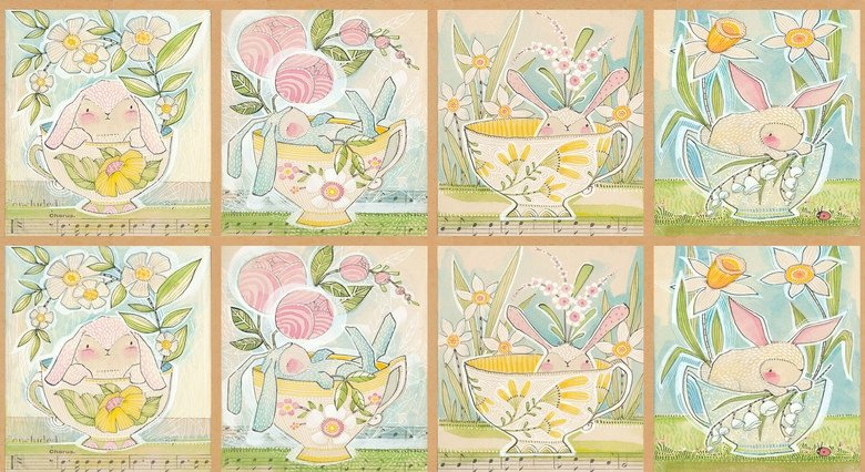 Promise of Spring - Tea with Bunny Panel
