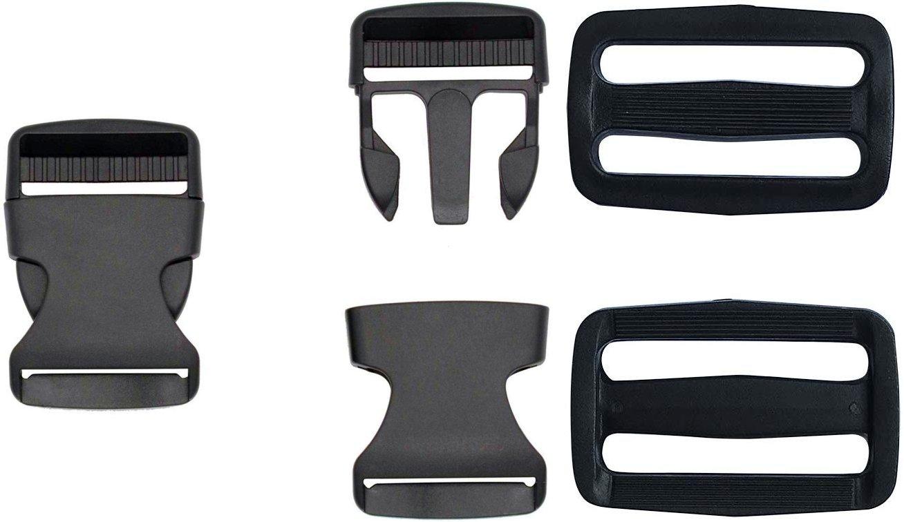 Plastic Side Release Buckle & Slides - 1 1/2 Wide - Black