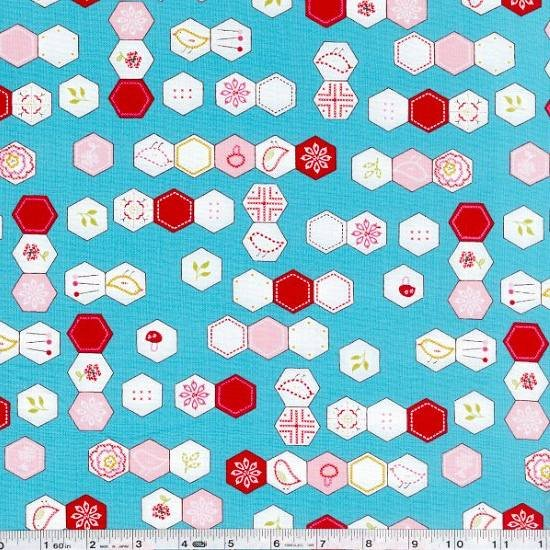 Sew Stitchy - Hexagons - Aqua Blue