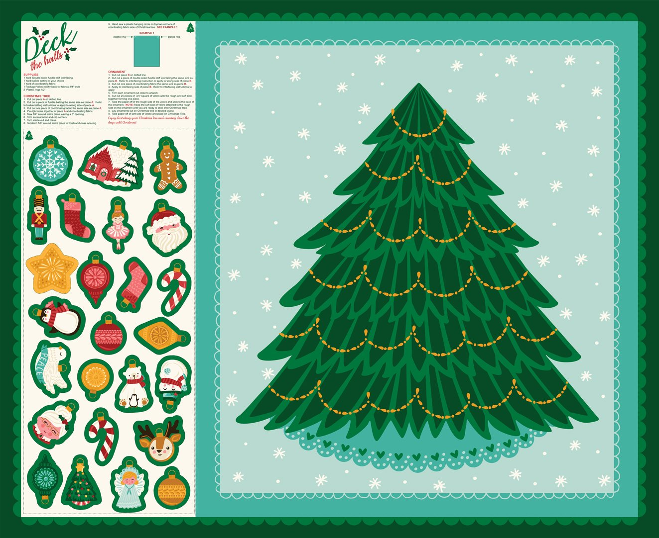 Deck the Halls - Cut & Sew Christmas Tree Panel