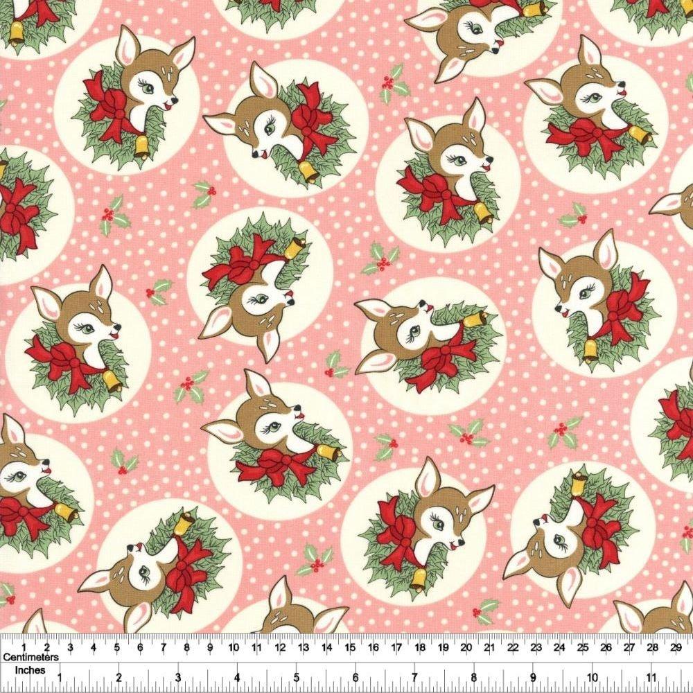 Deer Christmas - Polka Dot Deer - Pink Buttermint