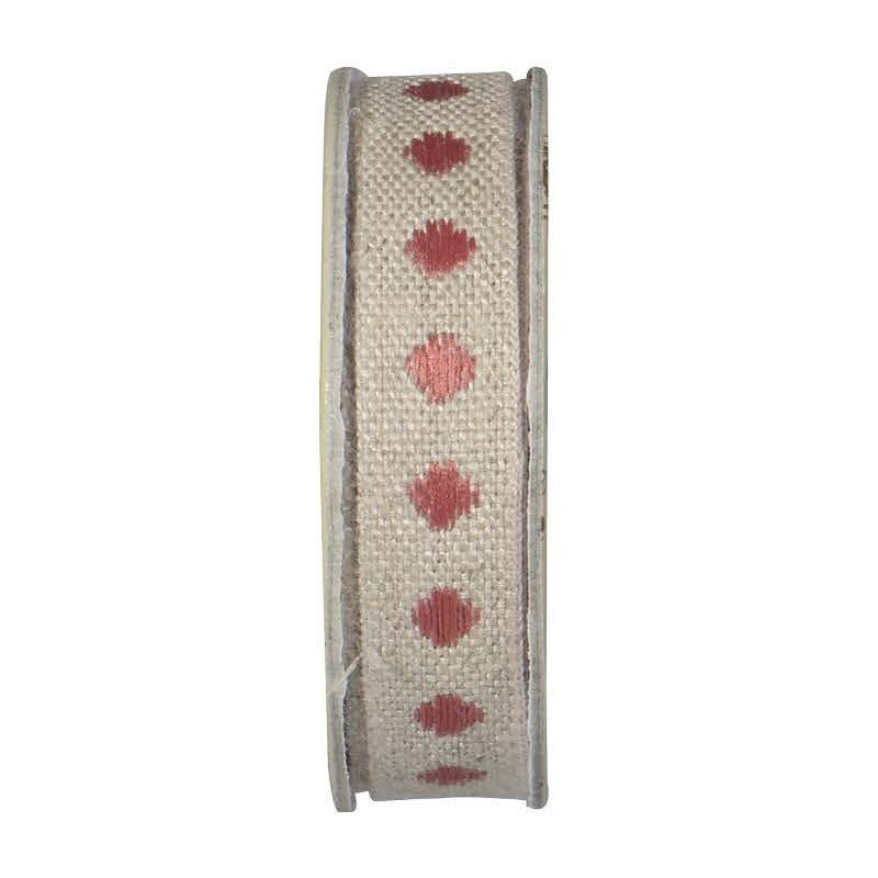 Lin Naturel Trim - Polka Dot - Pink on Natural
