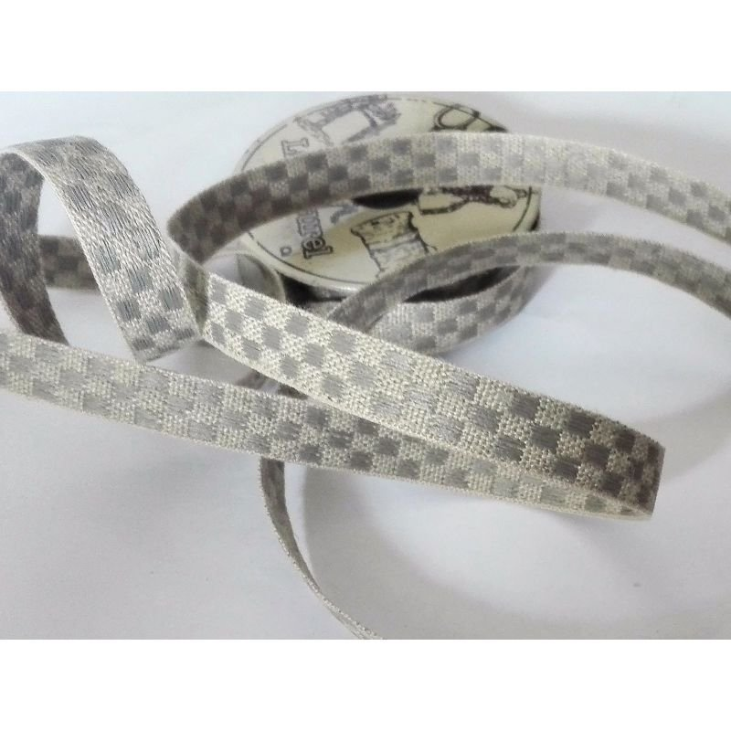 Lin Naturel Trim - Checkerboard - Grey & Natural