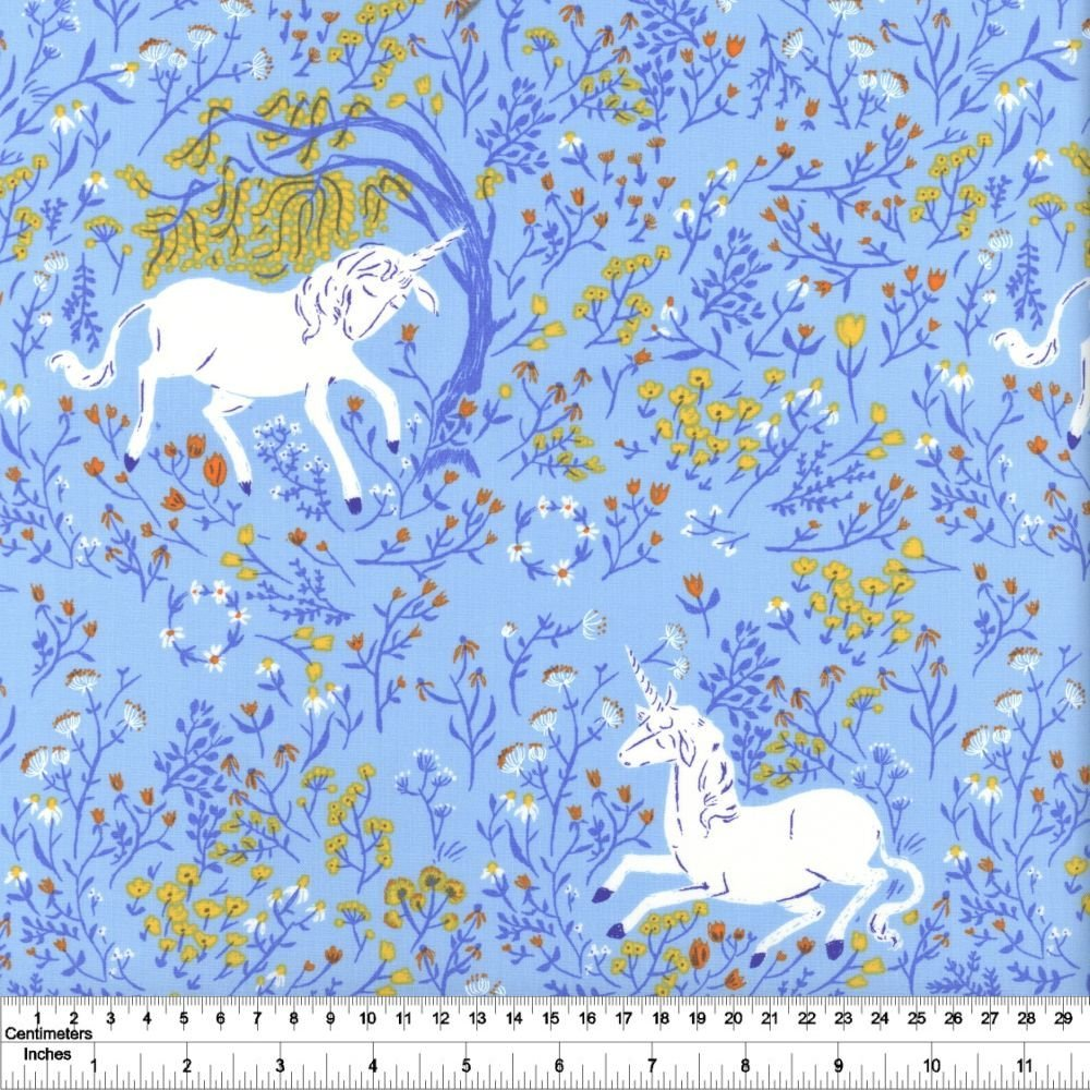 Heather Ross' 20th Anniversary - Unicorn - Blue