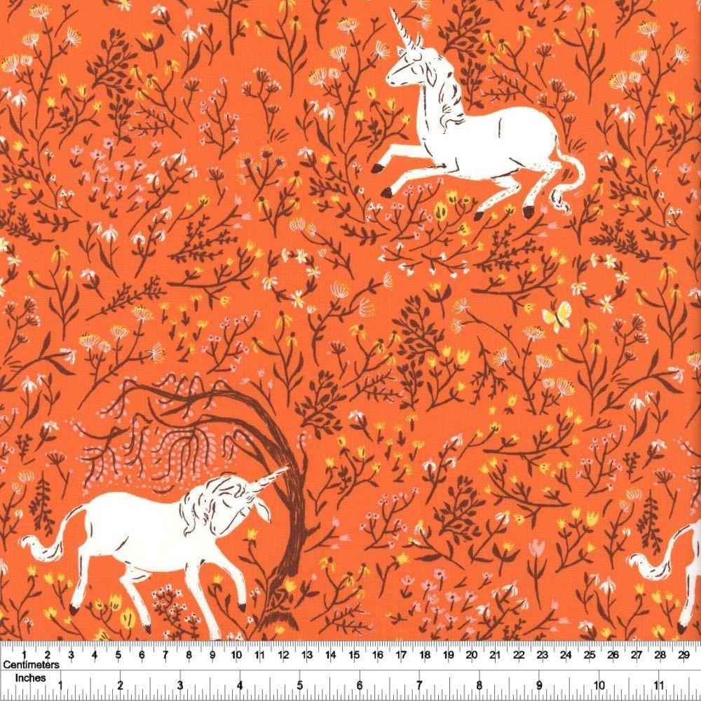 Heather Ross' 20th Anniversary - Unicorn - Orange