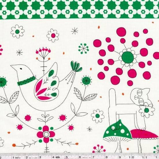 Minakoko - Scandi Stripe - Fuschia & Green