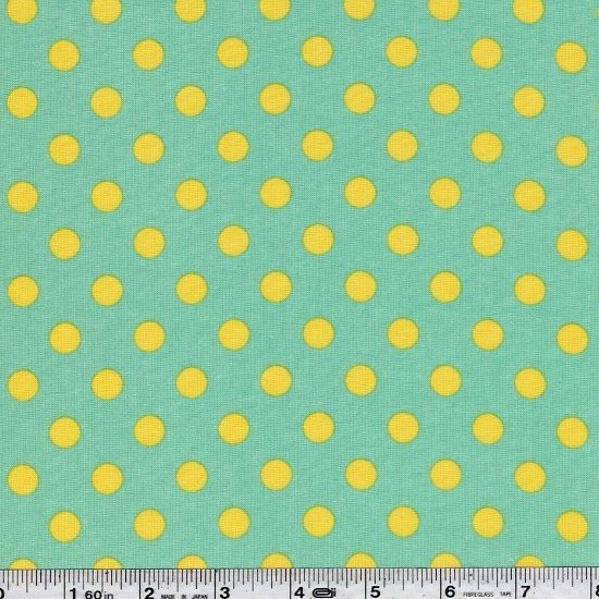 Mid Dot - Yellow on Minty Green