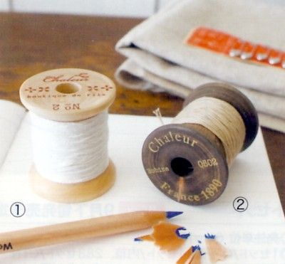 Thread Spool Pencil Holder - Beige