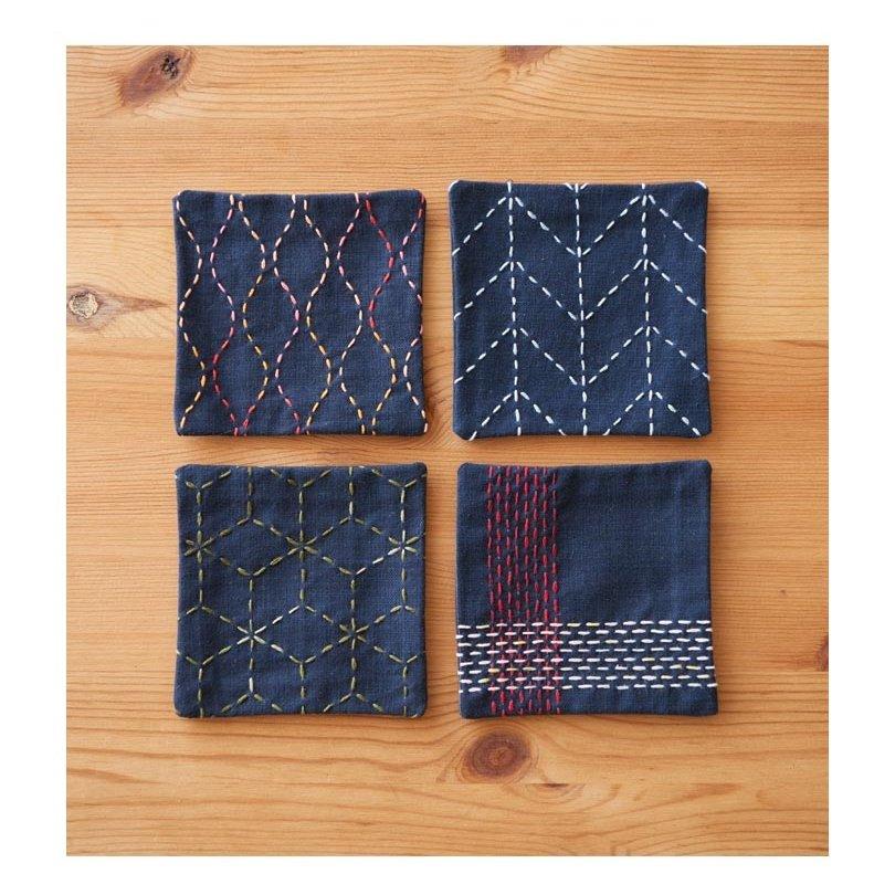 Cosmo Hidamari Pre-Printed Cloth - Coasters - Indigo