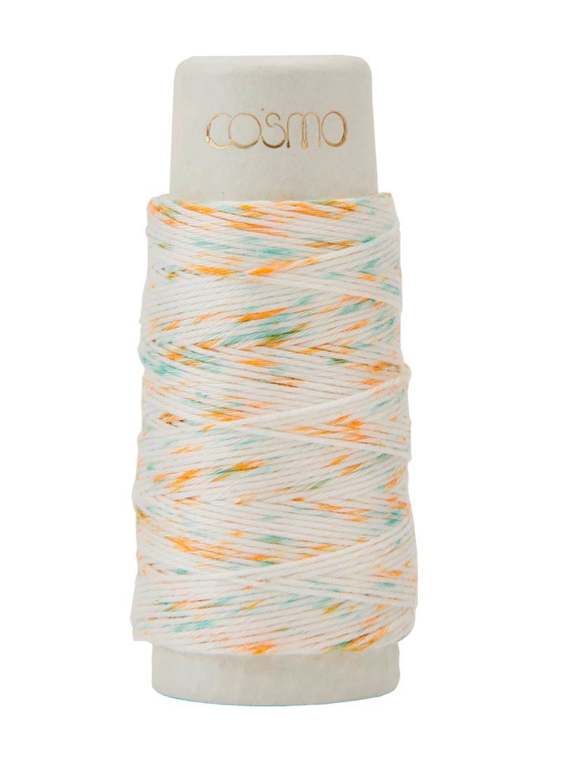 Cosmo Hidamari Variegated Sashiko Thread - Color #102 Shaved Ice - Orange Blue