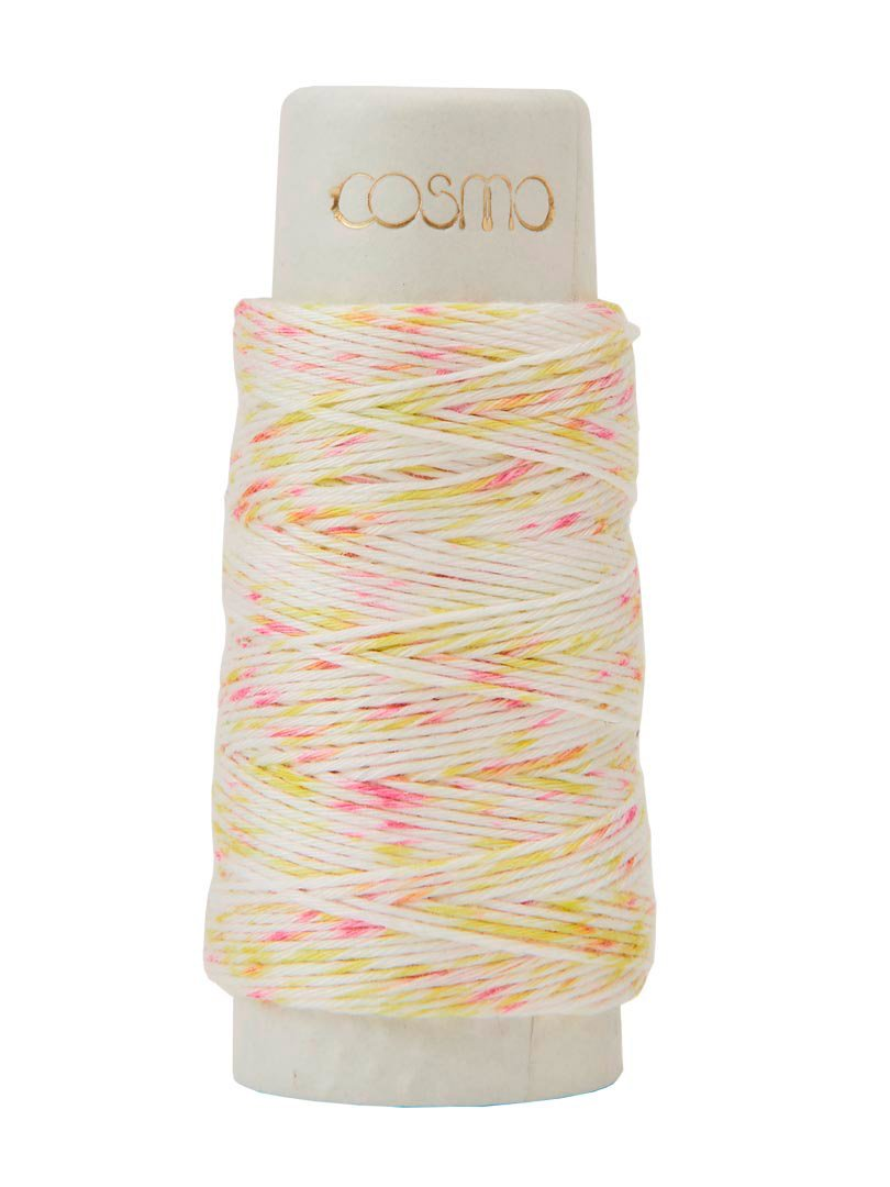 Cosmo Hidamari Variegated Sashiko Thread - Color #103 Shaved Ice - Pink Yellow