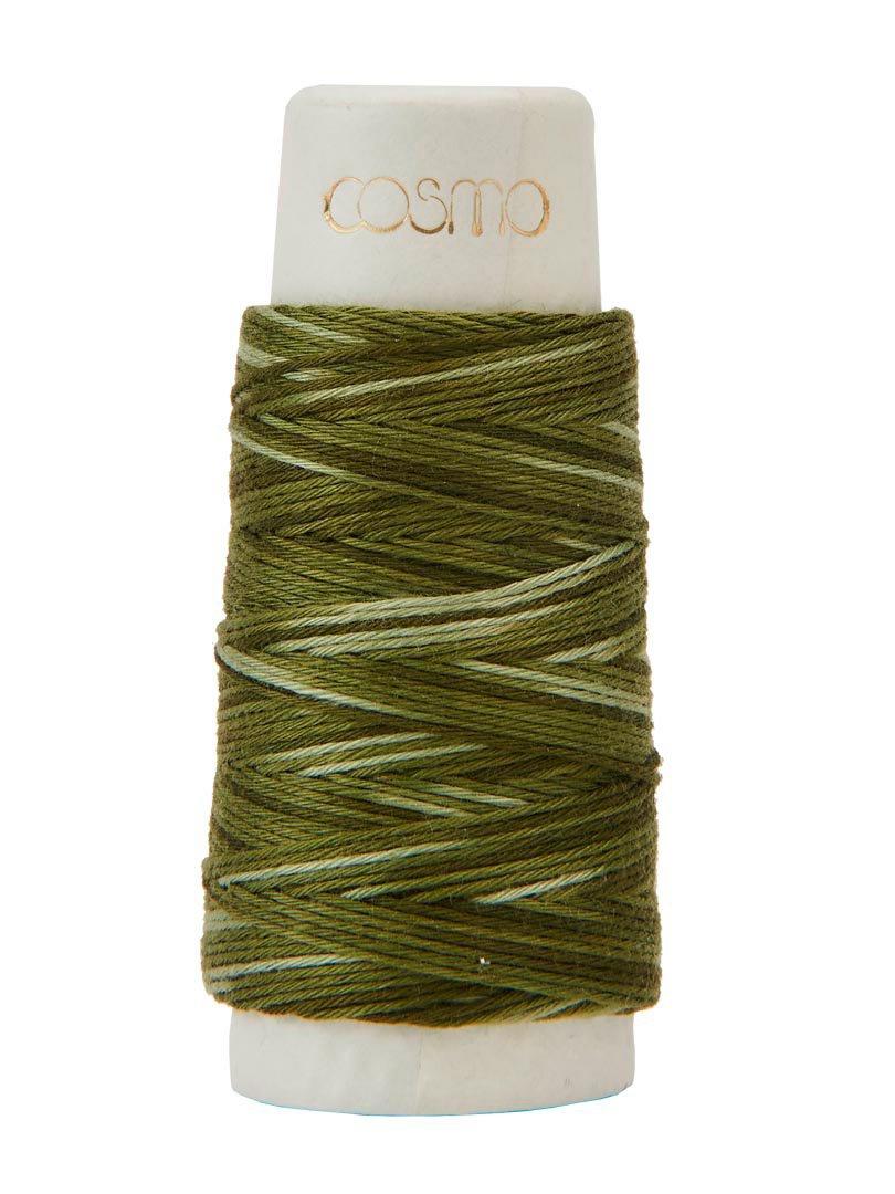 Cosmo Hidamari Variegated Sashiko Thread - Color #404 Forest Moss