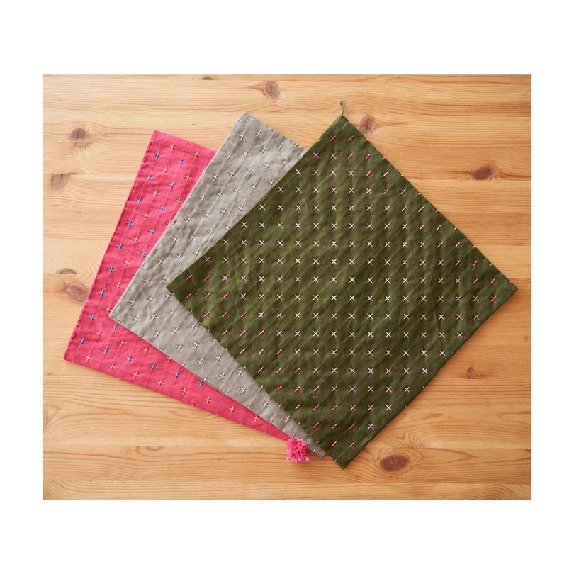 Cosmo Hidamari Pre-Printed Cotton & Linen Cloth - Kasuri - Khaki