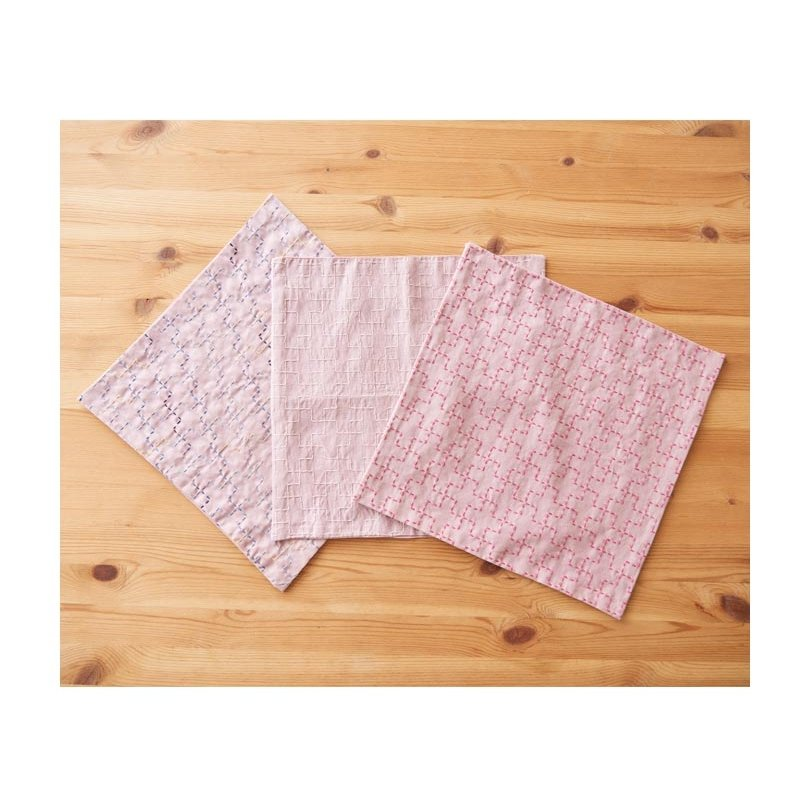 Cosmo Hidamari Pre-Printed Cotton & Linen Cloth - Cross - Pale Rose Pink