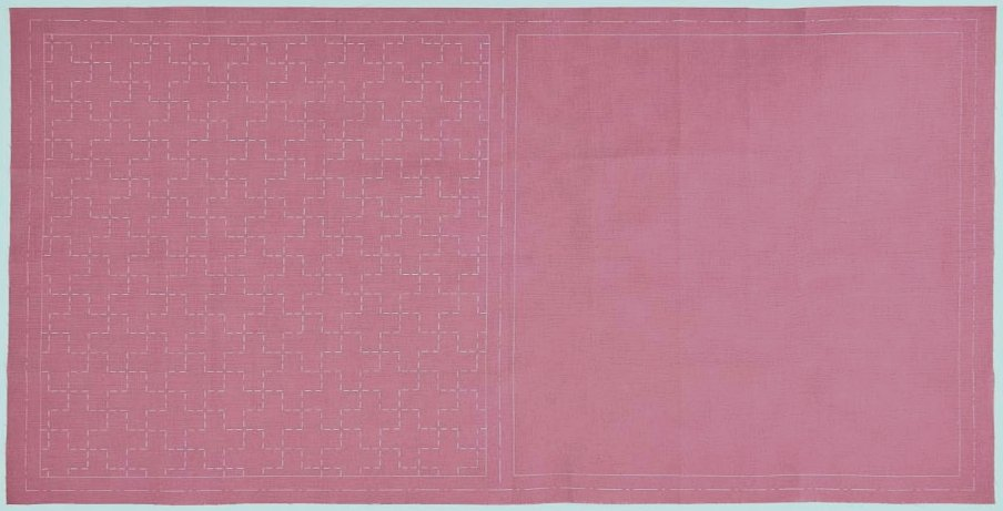 Cosmo Hidamari Pre-Printed Cotton & Linen Cloth - Cross - Plum