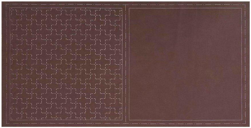Cosmo Hidamari Pre-Printed Cotton & Linen Cloth - Cross - Dark Brown