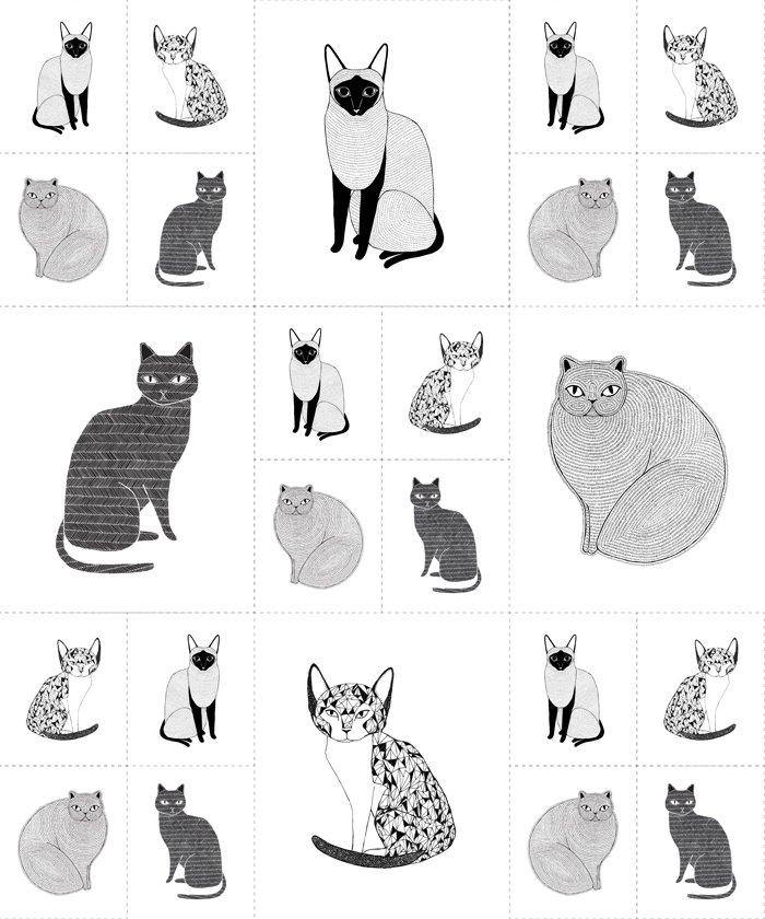 Catnip - Cats Galore Panel - White
