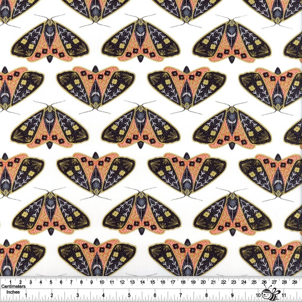 Dwell in Possibility - Dainty Moths - Ivory & Poppy Metallic